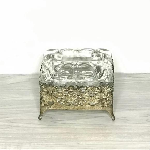 Other - Glass and Ormolu Filigree Vanity Trinket Box